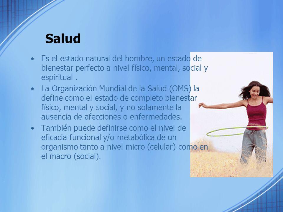 Salud Está contituida principalmente por los lementos: –Salud física –Salud mental –Salud Social –Salud espiritual Elementos de una salud integral