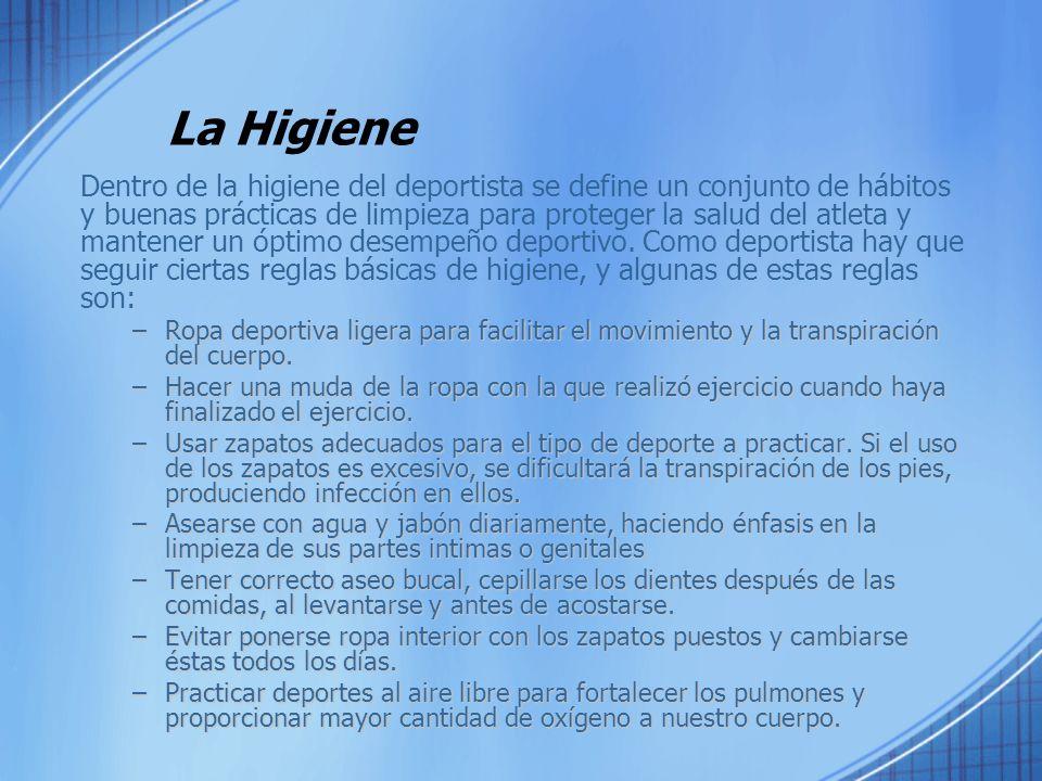 La Higiene Dentro de la higiene del deportista se define un conjunto de hábitos y buenas prácticas de limpieza para proteger la salud del atleta y man