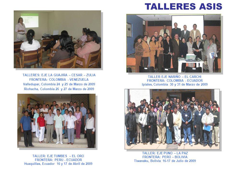 TALLERES ASIS TALLER EJE NARIÑO – EL CARCHI FRONTERA: COLOMBIA - ECUADOR Ipiales, Colombia 30 y 31 de Marzo de 2009 TALLERES: EJE LA GUAJIRA – CESAR –