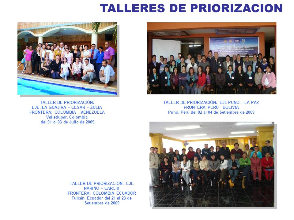 TALLERES DE PRIORIZACION TALLER DE PRIORIZACIÓN: EJE PUNO – LA PAZ FRONTERA PERÚ - BOLIVIA Puno, Perú del 02 al 04 de Setiembre de 2009 TALLER DE PRIO