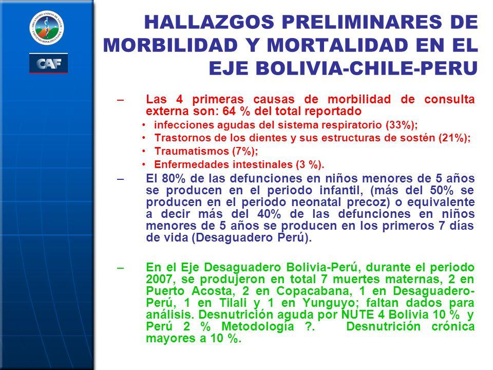 HALLAZGOS PRELIMINARES DE MORBILIDAD Y MORTALIDAD EN EL EJE BOLIVIA-CHILE-PERU –Las 4 primeras causas de morbilidad de consulta externa son: 64 % del