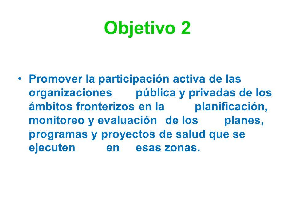 Objetivo 2 Promover la participación activa de las organizaciones pública y privadas de los ámbitos fronterizos en la planificación, monitoreo y evalu