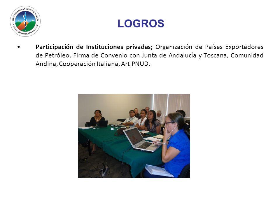LOGROS Participación de Instituciones privadas; Organización de Países Exportadores de Petróleo, Firma de Convenio con Junta de Andalucía y Toscana, C