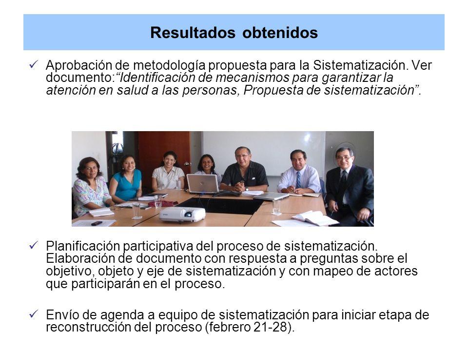 Resultados obtenidos Aprobación de metodología propuesta para la Sistematización. Ver documento:Identificación de mecanismos para garantizar la atenci