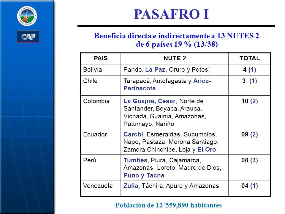 Beneficia directa e indirectamente a 13 NUTES 2 de 6 países 19 % (13/38) PASAFRO I PAISNUTE 2TOTAL BoliviaPando. La Paz, Oruro y Potosí4 (1) ChileTara