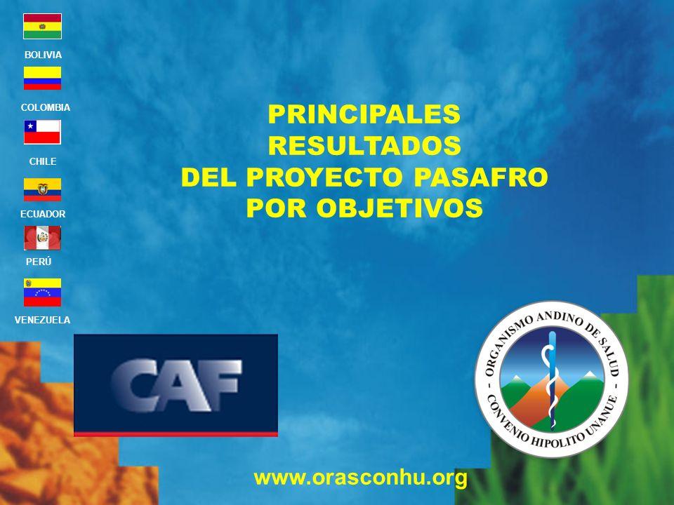 www.orasconhu.org BOLIVIA ECUADOR CHILE VENEZUELA PERÚ COLOMBIA PRINCIPALES RESULTADOS DEL PROYECTO PASAFRO POR OBJETIVOS