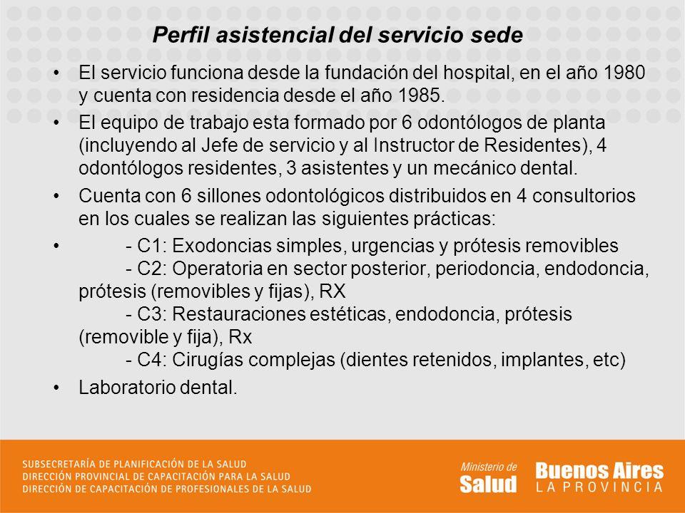 Perfil asistencial del servicio sede El servicio funciona desde la fundación del hospital, en el año 1980 y cuenta con residencia desde el año 1985. E