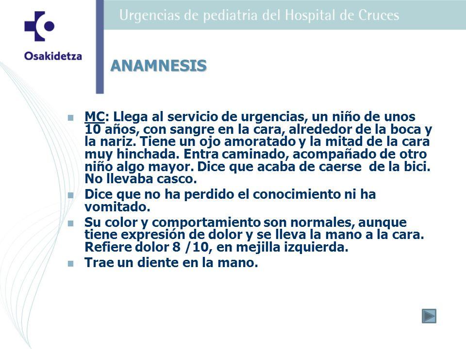 MC: Llega al servicio de urgencias, un niño de unos 10 años, con sangre en la cara, alrededor de la boca y la nariz.