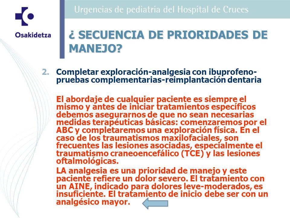 2. 2.Completar exploración-analgesia con ibuprofeno- pruebas complementarias-reimplantación dentaria El abordaje de cualquier paciente es siempre el m