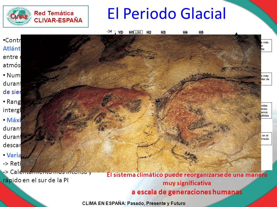 CLIMA EN ESPAÑA: Pasado, Presente y Futuro Red Temática CLIVAR-ESPAÑA Rango de temperaturas glacial – interglacial: 6º C El sistema climático puede re