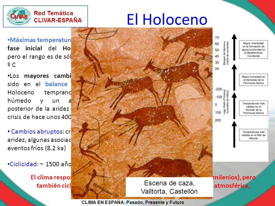 CLIMA EN ESPAÑA: Pasado, Presente y Futuro Red Temática CLIVAR-ESPAÑA El Holoceno Máximas temperaturas en la fase inicial del Holoceno, pero el rango