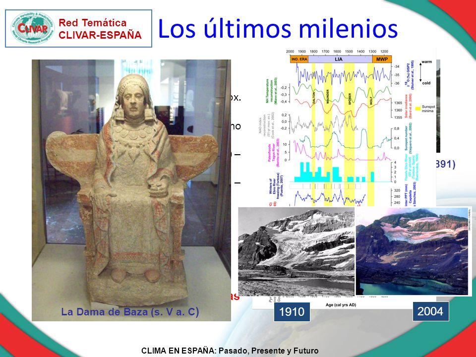CLIMA EN ESPAÑA: Pasado, Presente y Futuro Red Temática CLIVAR-ESPAÑA Río Ebro helado en Tortosa (1891) Cambios menores de temperatura (aprox. 1º C) p