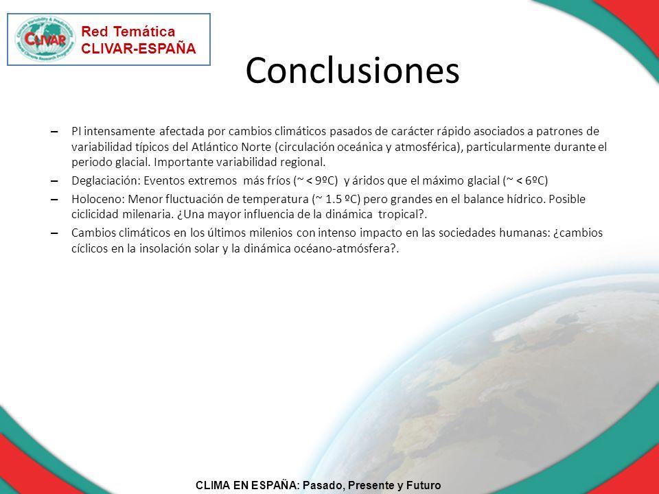 CLIMA EN ESPAÑA: Pasado, Presente y Futuro Red Temática CLIVAR-ESPAÑA Conclusiones – PI intensamente afectada por cambios climáticos pasados de caráct