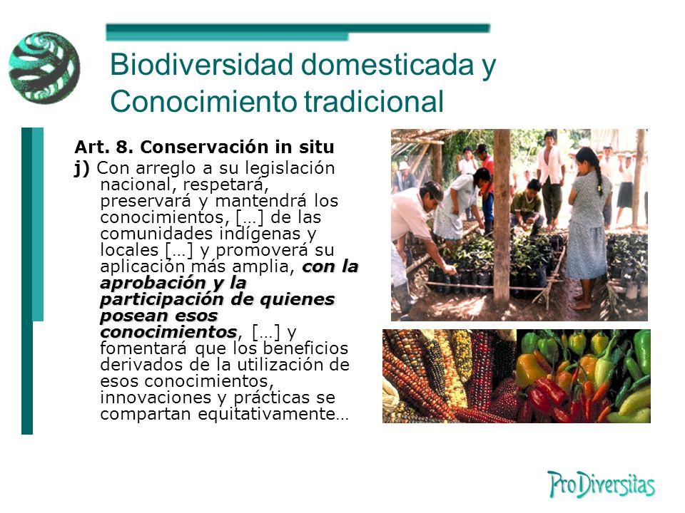 Biodiversidad domesticada y Conocimiento tradicional Art.