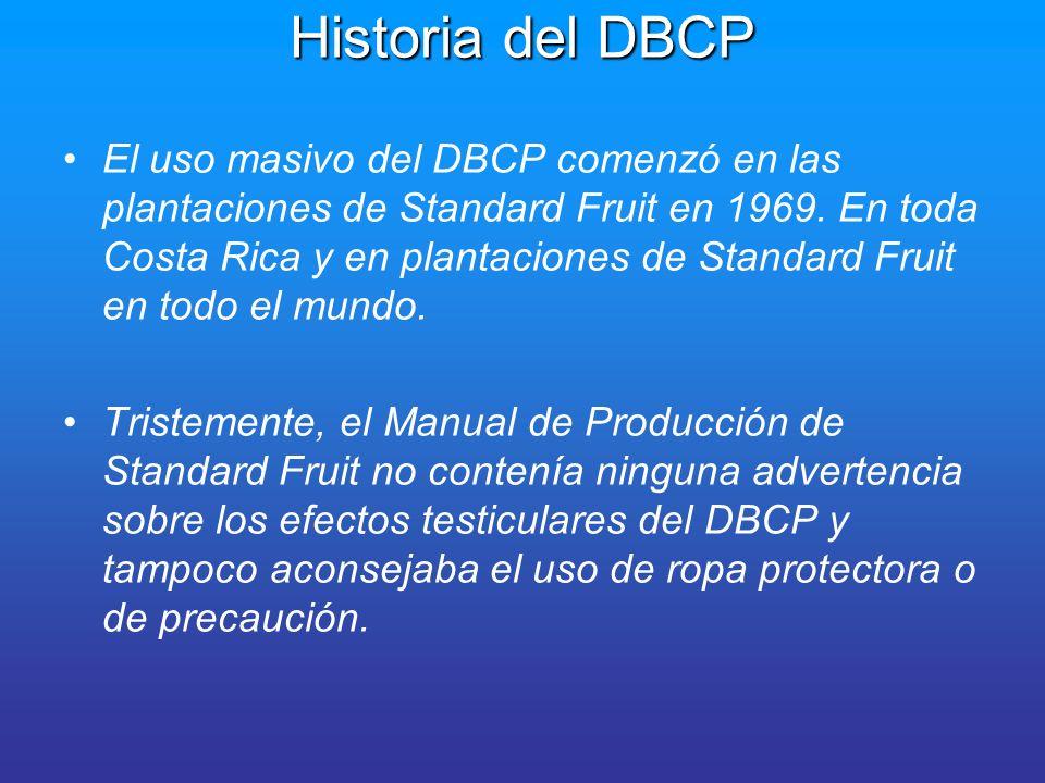 Historia del DBCP En los Estados Unidos, en 1975, la Agencia de Protección Ambiental determinò que el DBCP era un posible agente carcinógeno.