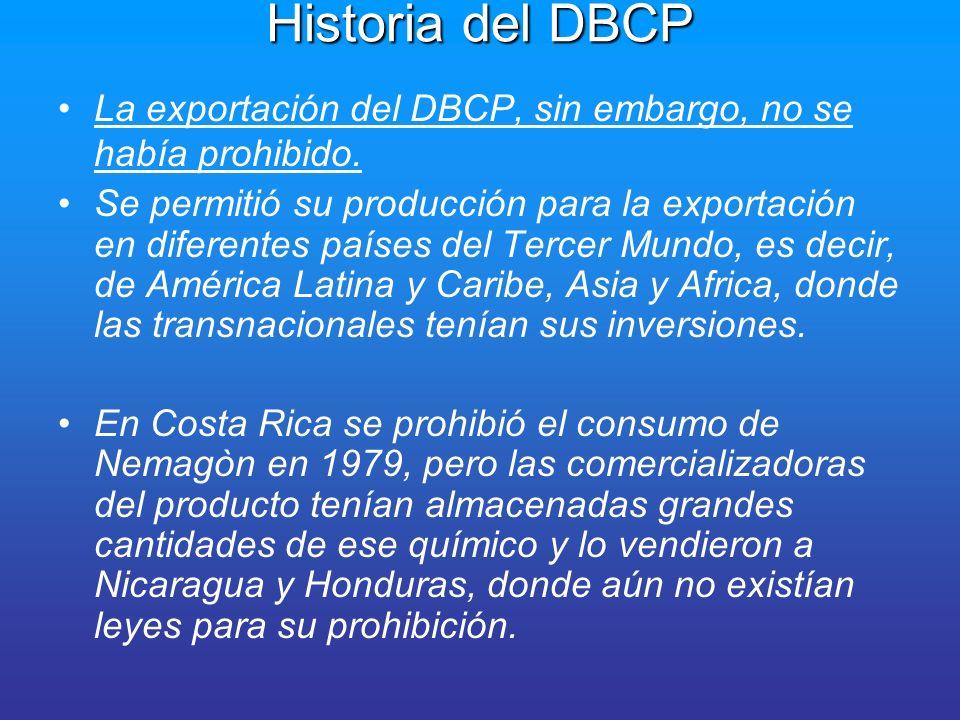 Investigaciones Epidemiológicas Whorton MD et al Mutagenicity, carcinogenicity and reproductive effects of dibromochloropropane (DBCP).