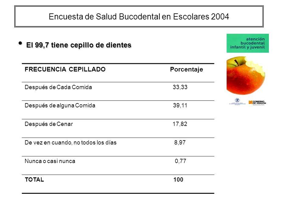 Encuesta de Salud Bucodental en Escolares 2004 El 99,7 tiene cepillo de dientes El 99,7 tiene cepillo de dientes FRECUENCIA CEPILLADO Porcentaje Despu