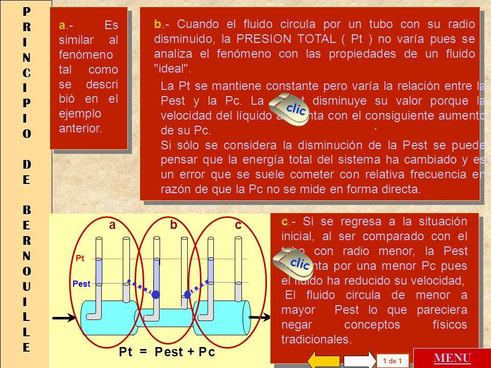 Pt = Pest + Pc Pc Pest Pest Pest - Pc Pestática P cinética 3 1 22 PRESIONES DE FLUIDOS IDEALES EN MOVIMIENTO En el caso de los