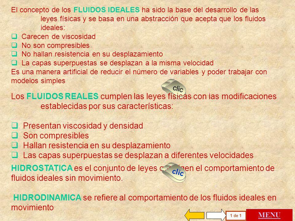 El concepto de los FLUIDOS IDEALES ha sido la base del desarrollo de las leyes físicas y se basa en una abstracción que acepta que los fluidos ideales: Carecen de viscosidad No son compresibles No hallan resistencia en su desplazamiento La capas superpuestas se desplazan a la misma velocidad Es una manera artificial de reducir el número de variables y poder trabajar con modelos simples MENU 1 de 1 clic Los FLUIDOS REALES cumplen las leyes físicas con las modificaciones establecidas por sus características: Presentan viscosidad y densidad Son compresibles Hallan resistencia en su desplazamiento Las capas superpuestas se desplazan a diferentes velocidades HIDROSTATICA es el conjunto de leyes que rigen el comportamiento de fluidos ideales sin movimiento.