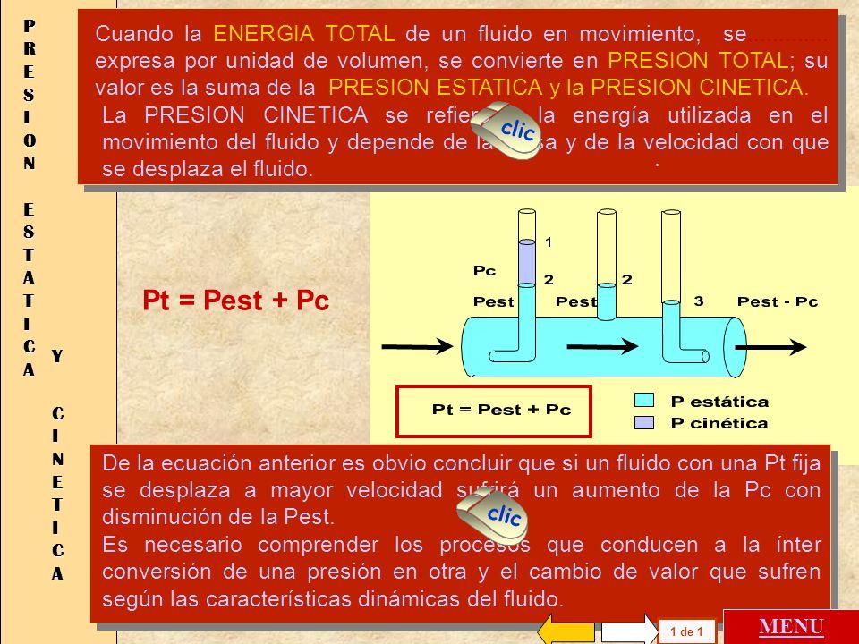 Pt = Pest + Pc P R E S I O N E S T A T I C A Y C I N E T I C A La PRESION CINETICA se refiere a la energía utilizada en el movimiento del fluido y depende de la masa y de la velocidad con que se desplaza el fluido.