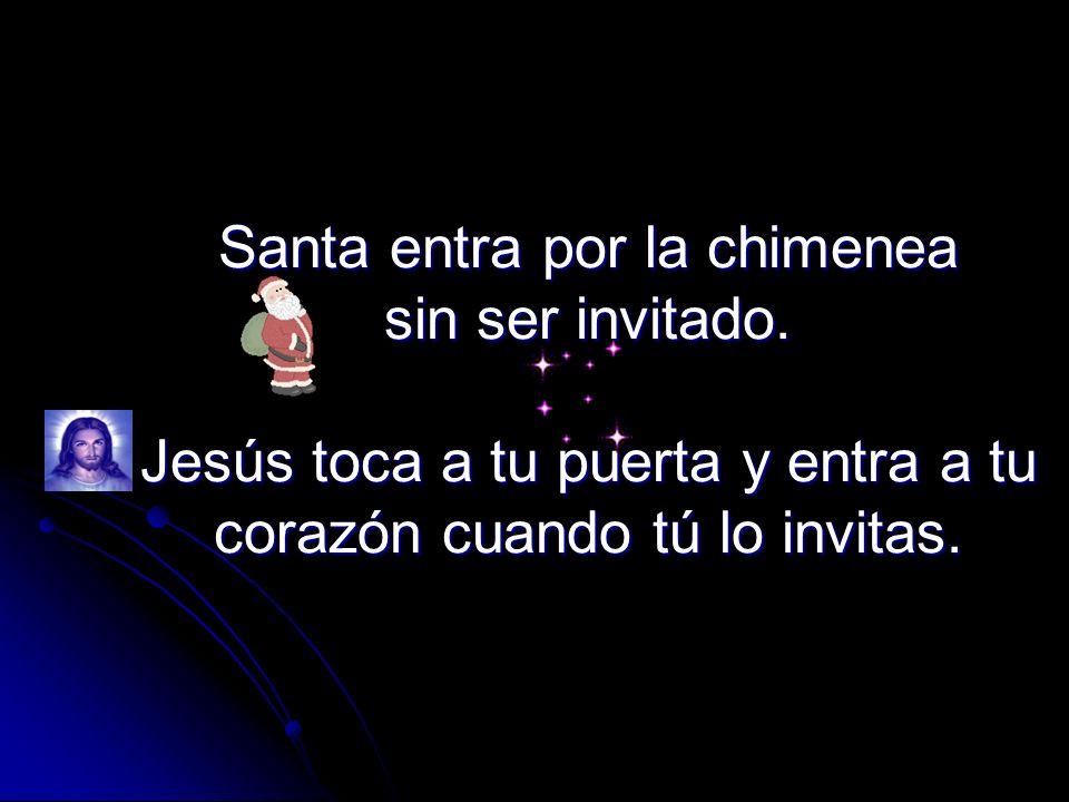 Santa llena los calcetines colgados en la pared con dulces. Jesús llena tu vida y te da todo lo que necesitas.
