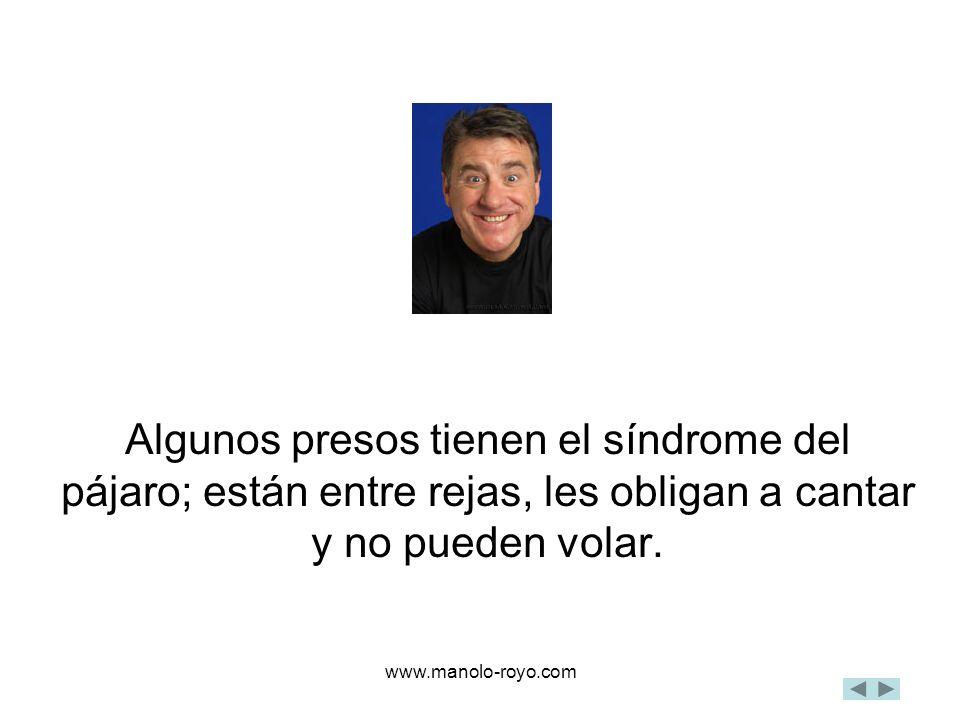 www.manolo-royo.com Algunos presos tienen el síndrome del pájaro; están entre rejas, les obligan a cantar y no pueden volar.