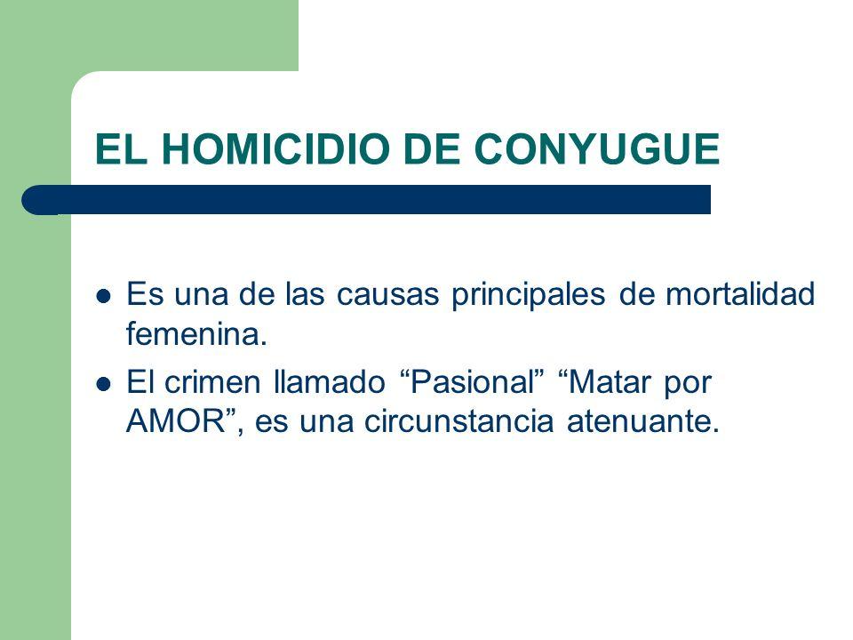 EL HOMICIDIO DE CONYUGUE Es una de las causas principales de mortalidad femenina. El crimen llamado Pasional Matar por AMOR, es una circunstancia aten