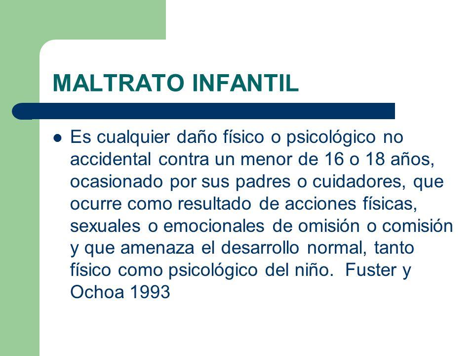 MALTRATO INFANTIL Es cualquier daño físico o psicológico no accidental contra un menor de 16 o 18 años, ocasionado por sus padres o cuidadores, que oc