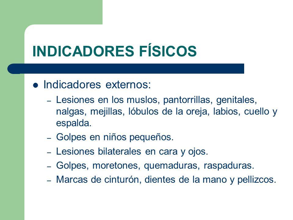 INDICADORES FÍSICOS Indicadores externos: – Lesiones en los muslos, pantorrillas, genitales, nalgas, mejillas, lóbulos de la oreja, labios, cuello y e
