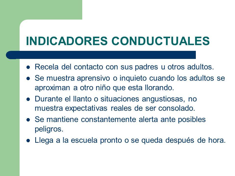 INDICADORES CONDUCTUALES Recela del contacto con sus padres u otros adultos. Se muestra aprensivo o inquieto cuando los adultos se aproximan a otro ni