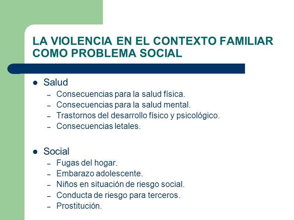 LA VIOLENCIA EN EL CONTEXTO FAMILIAR COMO PROBLEMA SOCIAL Salud – Consecuencias para la salud física. – Consecuencias para la salud mental. – Trastorn
