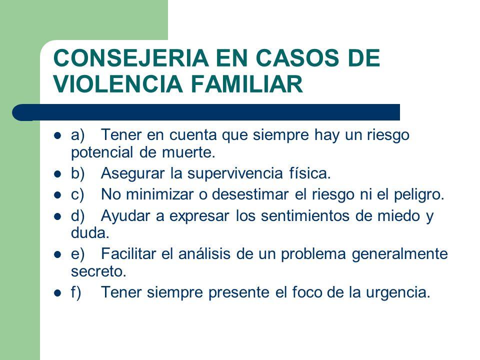 CONSEJERIA EN CASOS DE VIOLENCIA FAMILIAR a)Tener en cuenta que siempre hay un riesgo potencial de muerte. b)Asegurar la supervivencia física. c)No mi