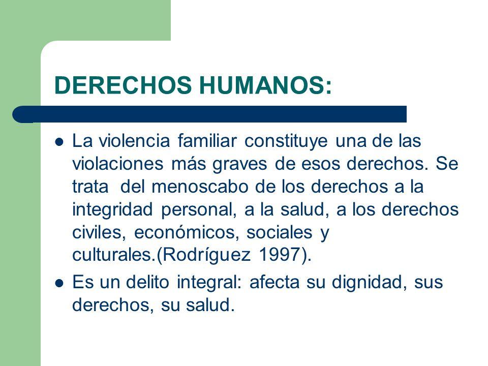 DERECHOS HUMANOS: La violencia familiar constituye una de las violaciones más graves de esos derechos. Se trata del menoscabo de los derechos a la int