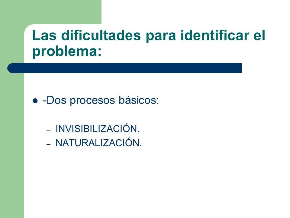 Las dificultades para identificar el problema: -Dos procesos básicos: – INVISIBILIZACIÓN. – NATURALIZACIÓN.