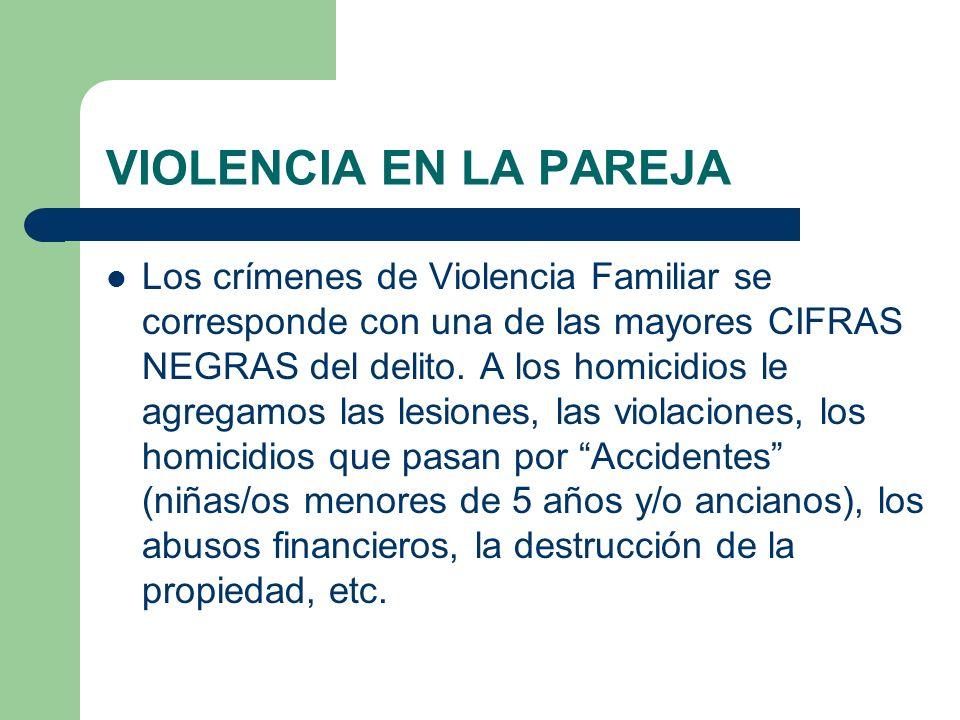 VIOLENCIA EN LA PAREJA Los crímenes de Violencia Familiar se corresponde con una de las mayores CIFRAS NEGRAS del delito. A los homicidios le agregamo