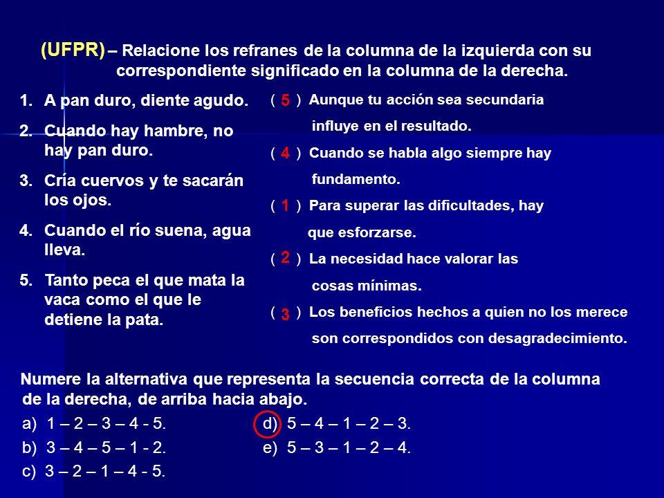 (UFPR) – Relacione los refranes de la columna de la izquierda con su correspondiente significado en la columna de la derecha. 1.A pan duro, diente agu