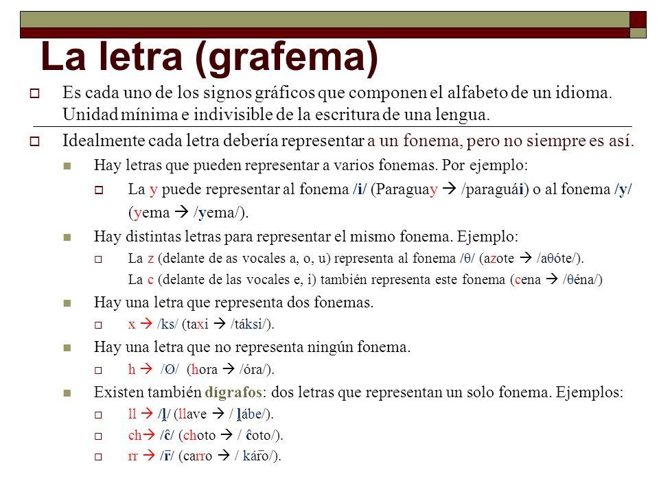 La letra (grafema) Es cada uno de los signos gráficos que componen el alfabeto de un idioma. Unidad mínima e indivisible de la escritura de una lengua