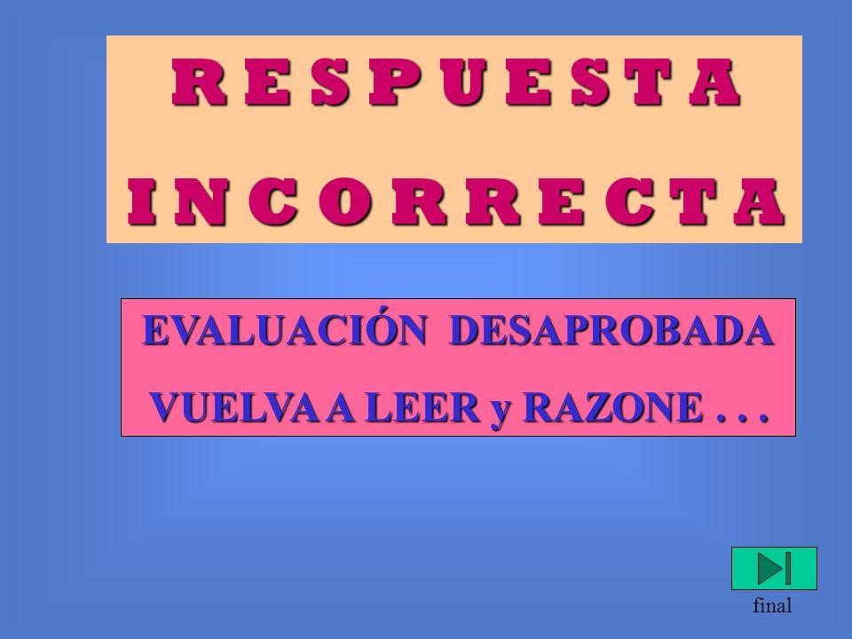 R E S P U E S T A I N C O R R E C T A Resultado de la evaluación: 1° Parte APROBADA. 2° Parte DESAPROBADA. final