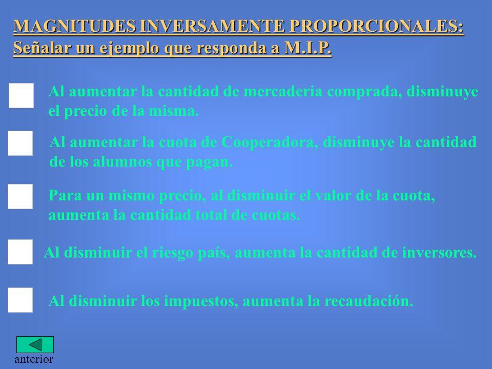 MAGNITUDES INVERSAMENTE PROPORCIONALES: Señalar un ejemplo que responda a M.I.P.