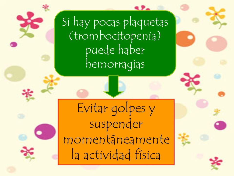 Si hay pocas plaquetas (trombocitopenia) puede haber hemorragias Evitar golpes y suspender momentáneamente la actividad física