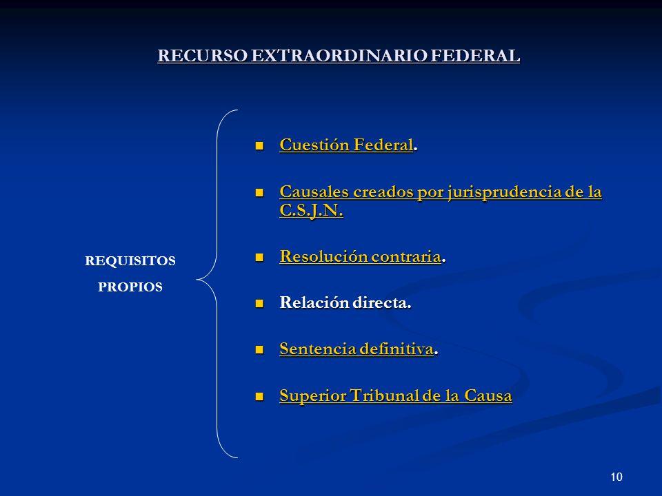 10 RECURSO EXTRAORDINARIO FEDERAL Cuestión Federal. Cuestión Federal. Cuestión Federal Cuestión Federal Causales creados por jurisprudencia de la C.S.