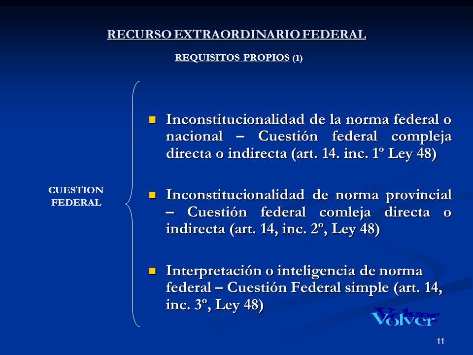 11 RECURSO EXTRAORDINARIO FEDERAL RECURSO EXTRAORDINARIO FEDERAL REQUISITOS PROPIOS (1) Inconstitucionalidad de la norma federal o nacional – Cuestión