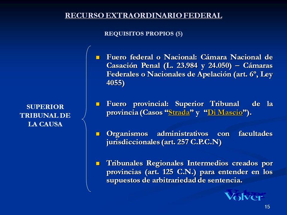 15 RECURSO EXTRAORDINARIO FEDERAL RECURSO EXTRAORDINARIO FEDERAL REQUISITOS PROPIOS (5) Fuero federal o Nacional: Cámara Nacional de Casación Penal (L