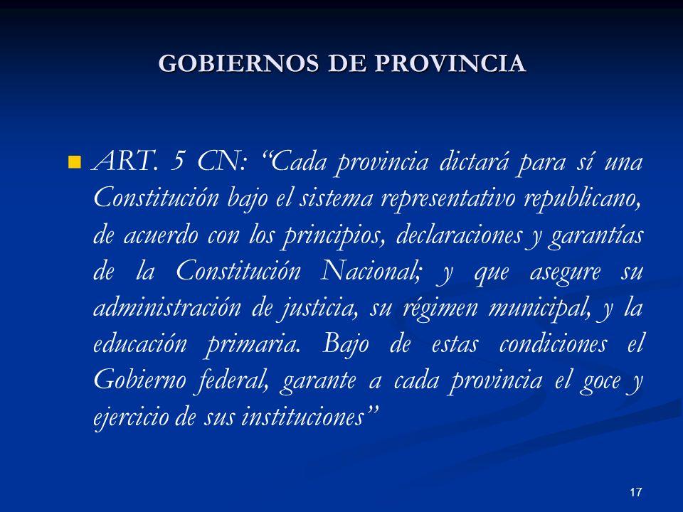 17 GOBIERNOS DE PROVINCIA ART. 5 CN: Cada provincia dictará para sí una Constitución bajo el sistema representativo republicano, de acuerdo con los pr