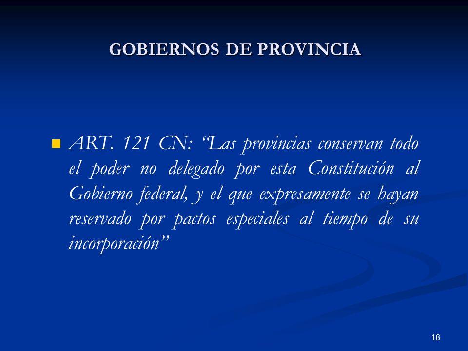 18 GOBIERNOS DE PROVINCIA ART. 121 CN: Las provincias conservan todo el poder no delegado por esta Constitución al Gobierno federal, y el que expresam