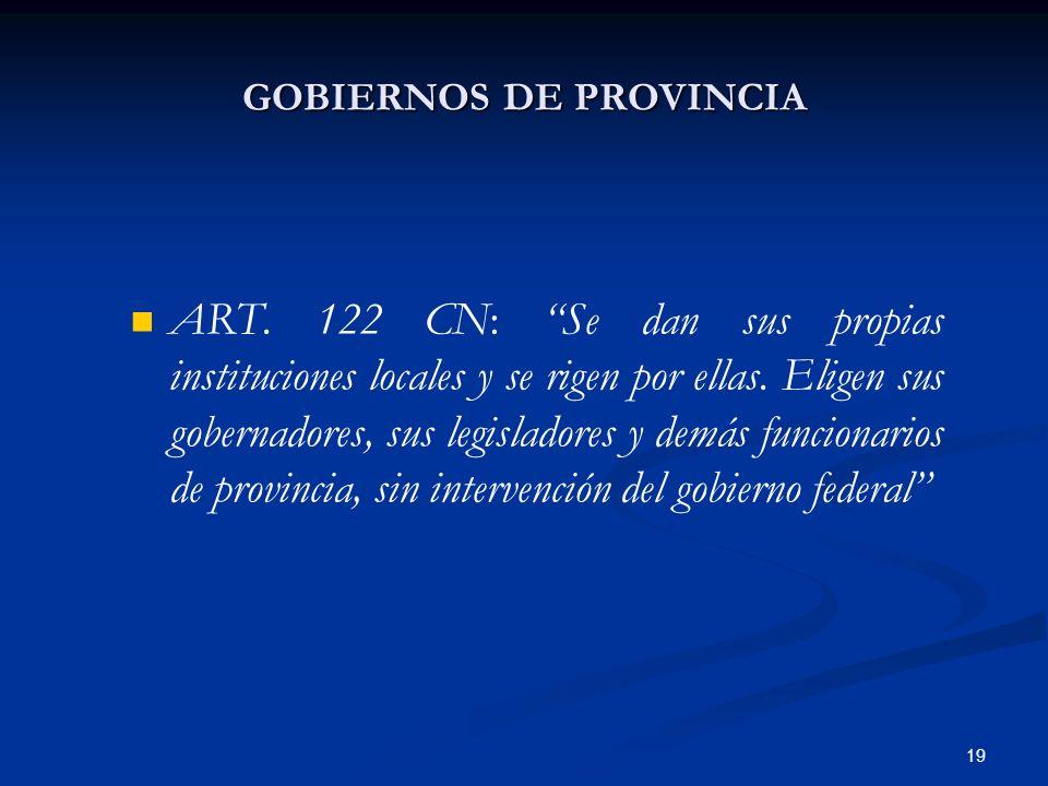 19 GOBIERNOS DE PROVINCIA ART. 122 CN: Se dan sus propias instituciones locales y se rigen por ellas. Eligen sus gobernadores, sus legisladores y demá
