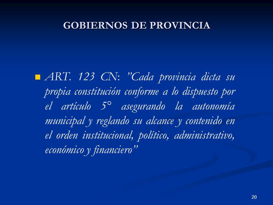 20 GOBIERNOS DE PROVINCIA ART. 123 CN: Cada provincia dicta su propia constitución conforme a lo dispuesto por el artículo 5° asegurando la autonomía