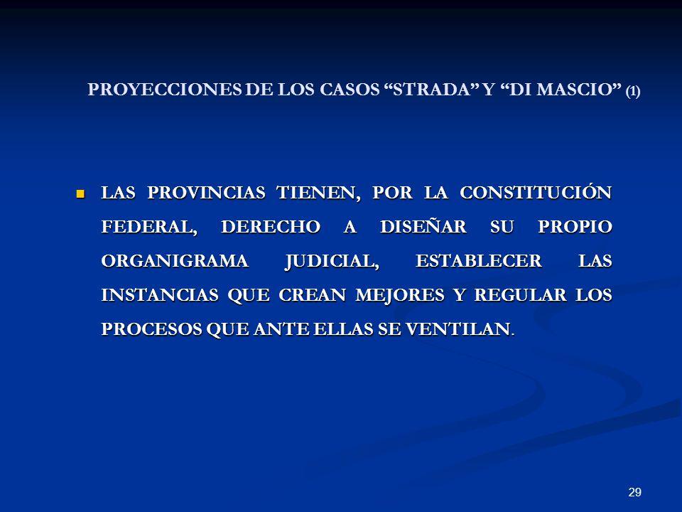 29 PROYECCIONES DE LOS CASOS STRADA Y DI MASCIO (1) LAS PROVINCIAS TIENEN, POR LA CONSTITUCIÓN FEDERAL, DERECHO A DISEÑAR SU PROPIO ORGANIGRAMA JUDICI