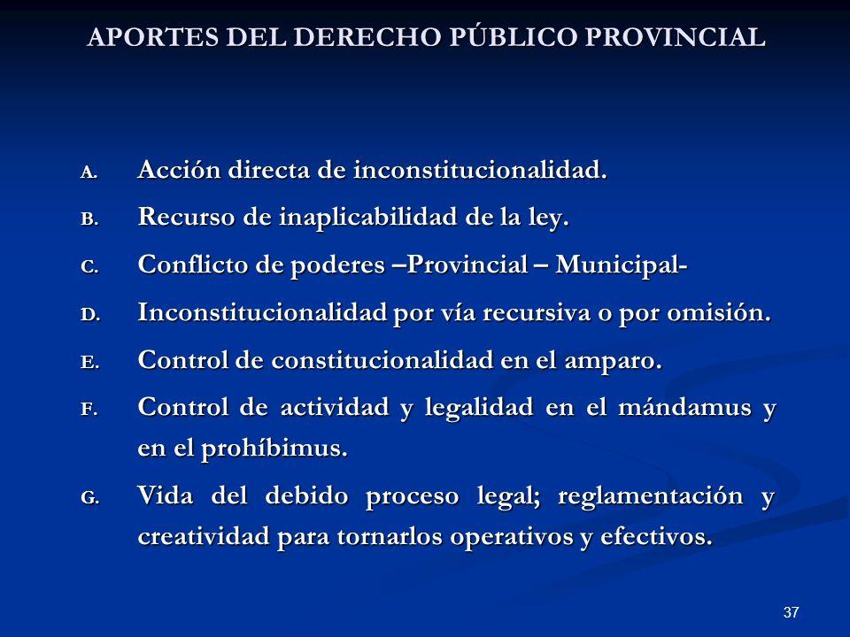 37 APORTES DEL DERECHO PÚBLICO PROVINCIAL A. Acción directa de inconstitucionalidad. B. Recurso de inaplicabilidad de la ley. C. Conflicto de poderes