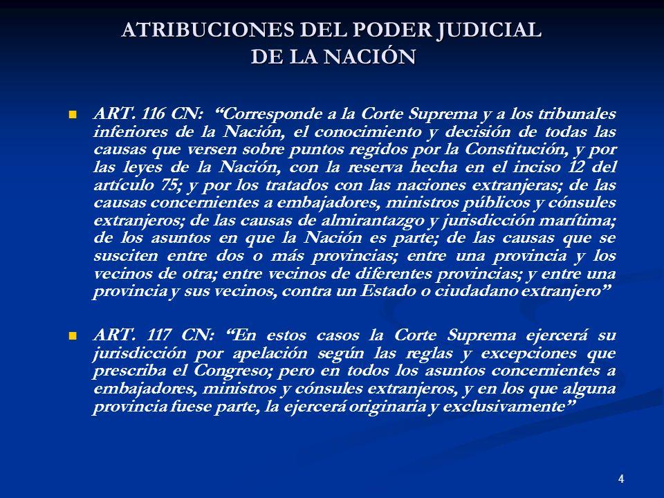 4 ATRIBUCIONES DEL PODER JUDICIAL DE LA NACIÓN ART. 116 CN: Corresponde a la Corte Suprema y a los tribunales inferiores de la Nación, el conocimiento